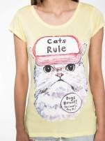 Żółty t-shirt z nadrukiem kota i napisem CATS RULE