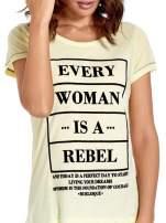 Żółty t-shirt z napisem EVERY WOMAN IS A REBEL