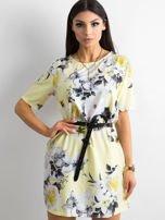 Zwiewna jasnożółta sukienka w kwiaty                                  zdj.                                  1